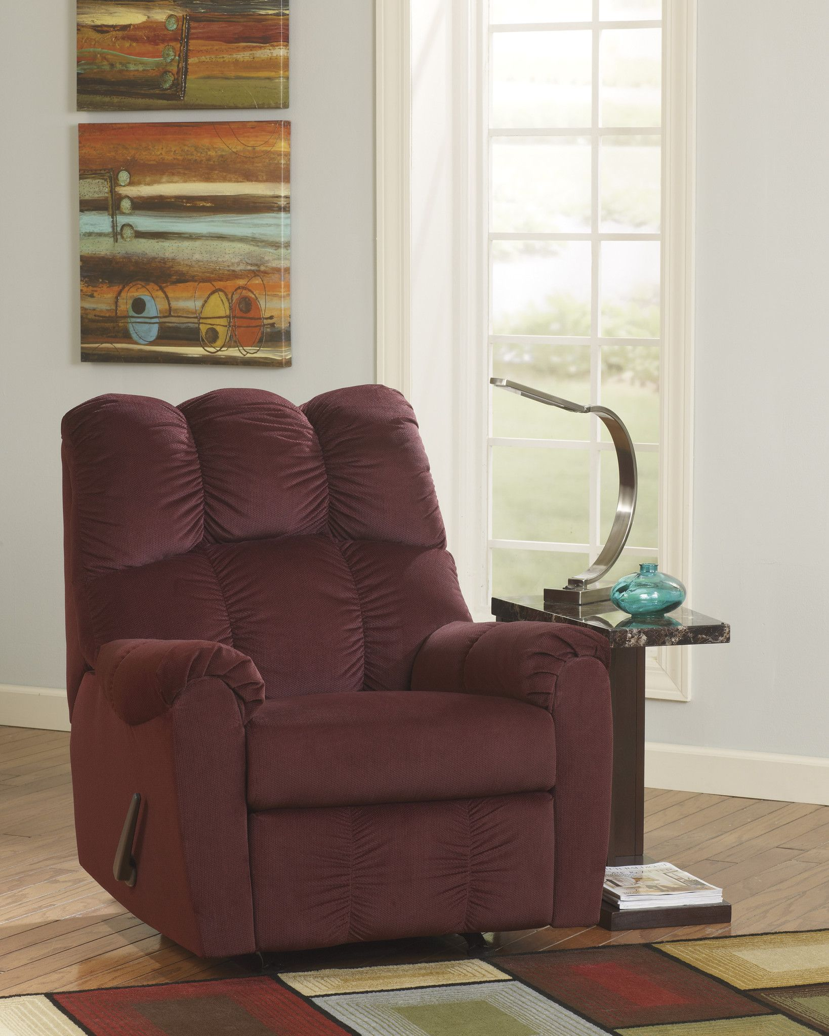 Raulo Burgundy Rocker Recliner – Outfit My Home