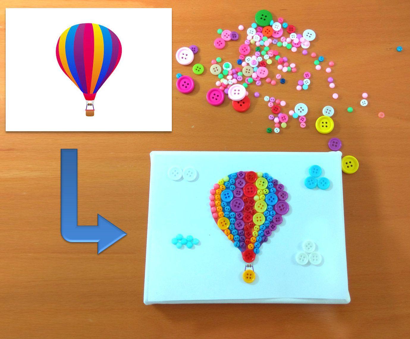Diy button art kit for kids button canvas craft kit ballon art diy button art kit for kids button canvas craft kit ballon art puzzle solutioingenieria Choice Image