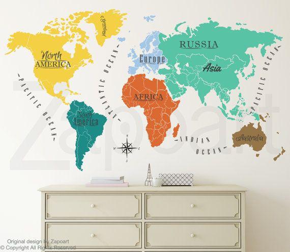 World map w continents ocean names wall decal continente planisferio con continentes y ocano nombres pared por zapoart gumiabroncs Gallery