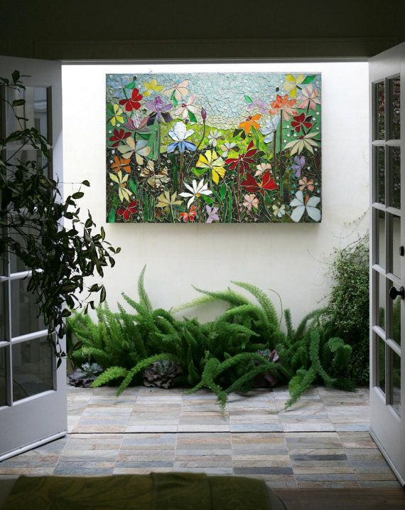 Arte de la pared de mosaico vidrieras decoraci n floral for Decoracion jardin interior