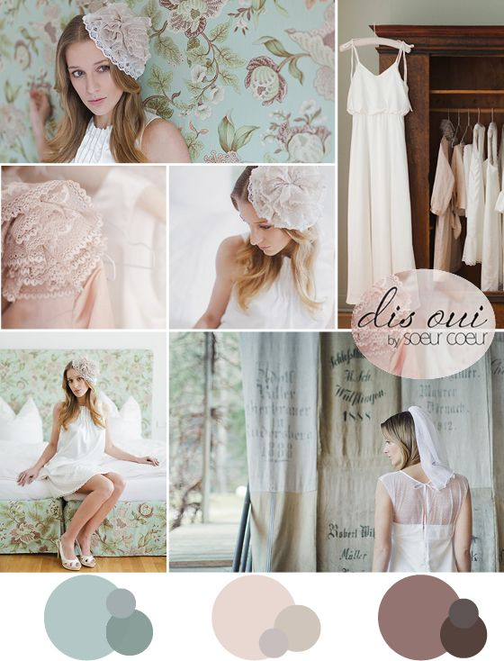 soft colors inspiration board with soer coeur wedding dresses