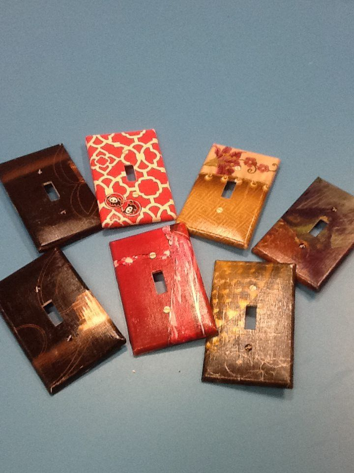Decoupage light switch covers.
