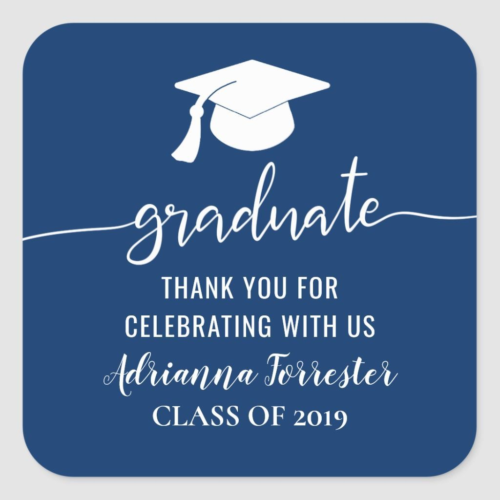 Navy Blue Typography Graduate Hat In 2020 Meant To Be Quotes Thank You Typography Typography