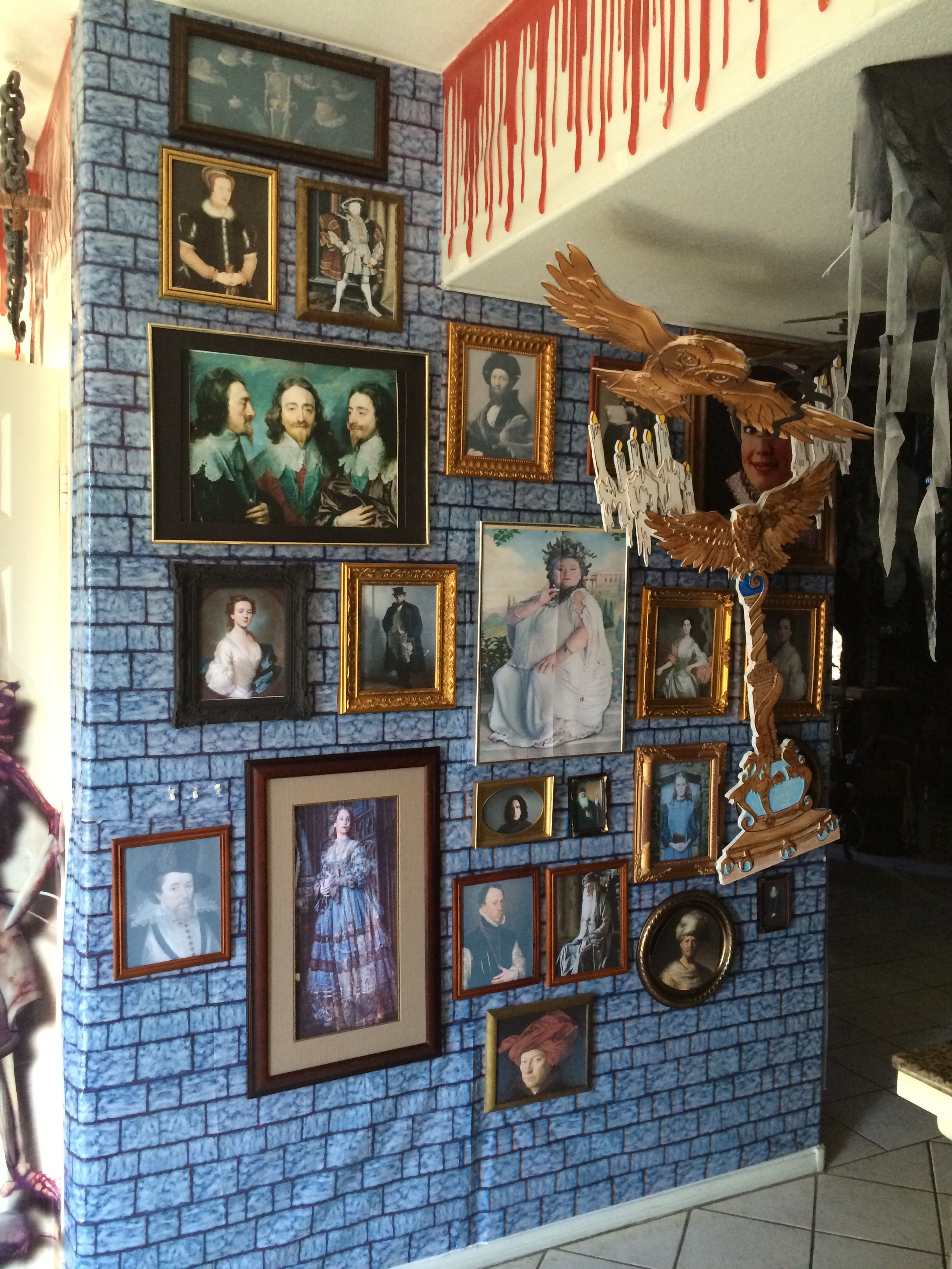 Wet bar Harry Potter wall of portraits