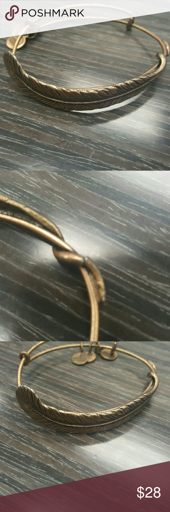 Alex & Ani Quill Feather Bangle Please note the second photo. It was purchased that way and has not had any affect on wear. Does have slight signs of wear but in great condition. Does not come with card or original box. Alex & Ani Jewelry Bracelets