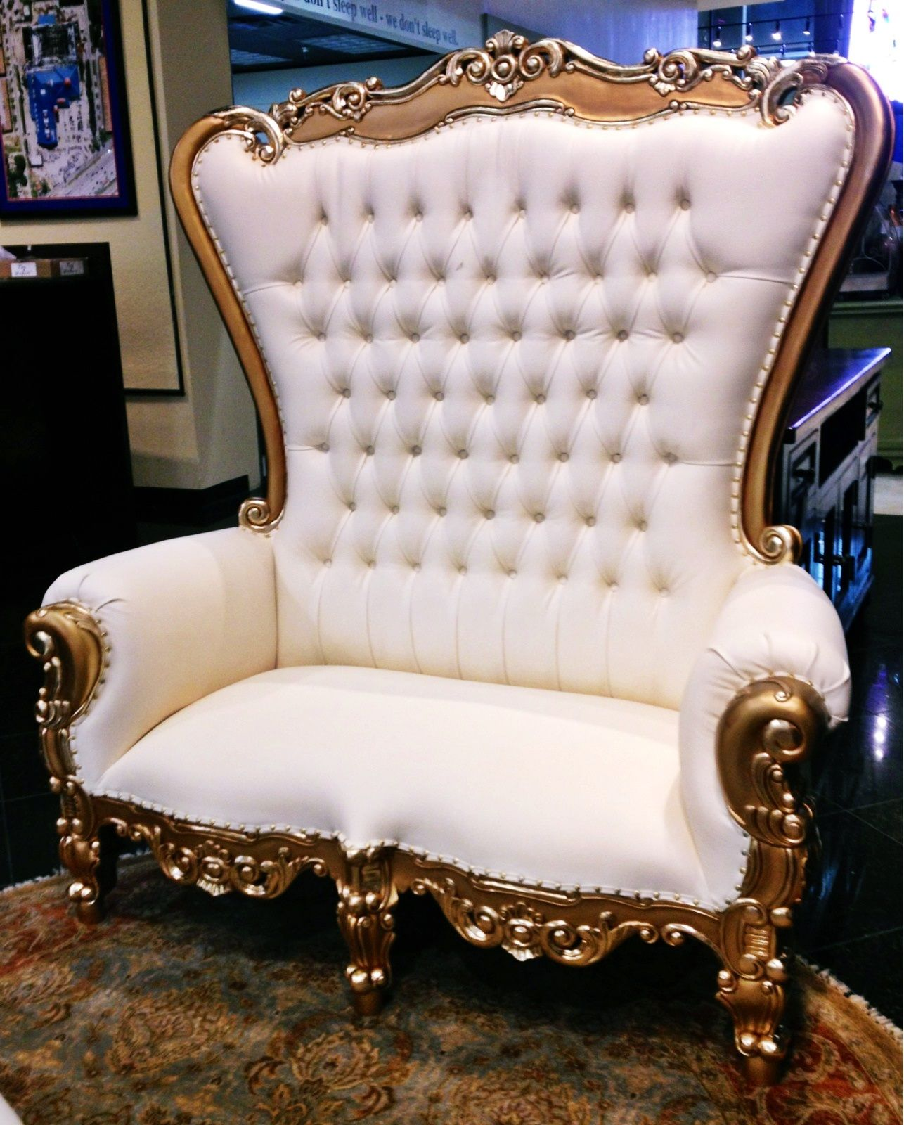 White Tufted Chairs Royal Blue Chair Covers Sit Like Royalty In The Tabs Over Sized With Gold Trim Houston Tx Gallery Furniture