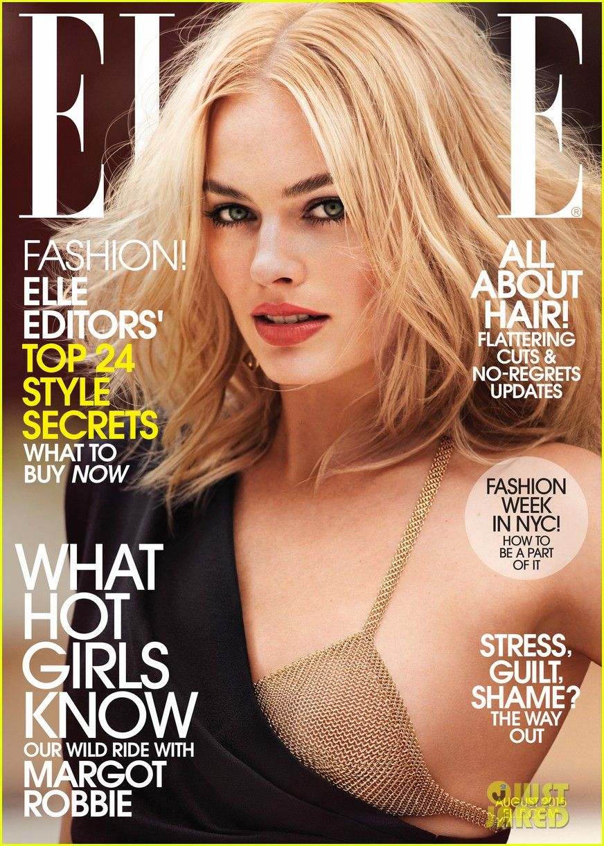 Margot is wearing a Saint Laurent by Hedi Slimane dress, an Elsa Peretti for Tiffany & Co. mesh halter, and a Janis Savitt on the cover of Elle posing for August 2015 issue.