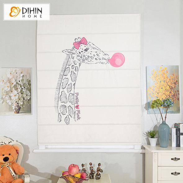 DIHIN HOME Cute Giraffe Printed Roman Shades,Easy Install