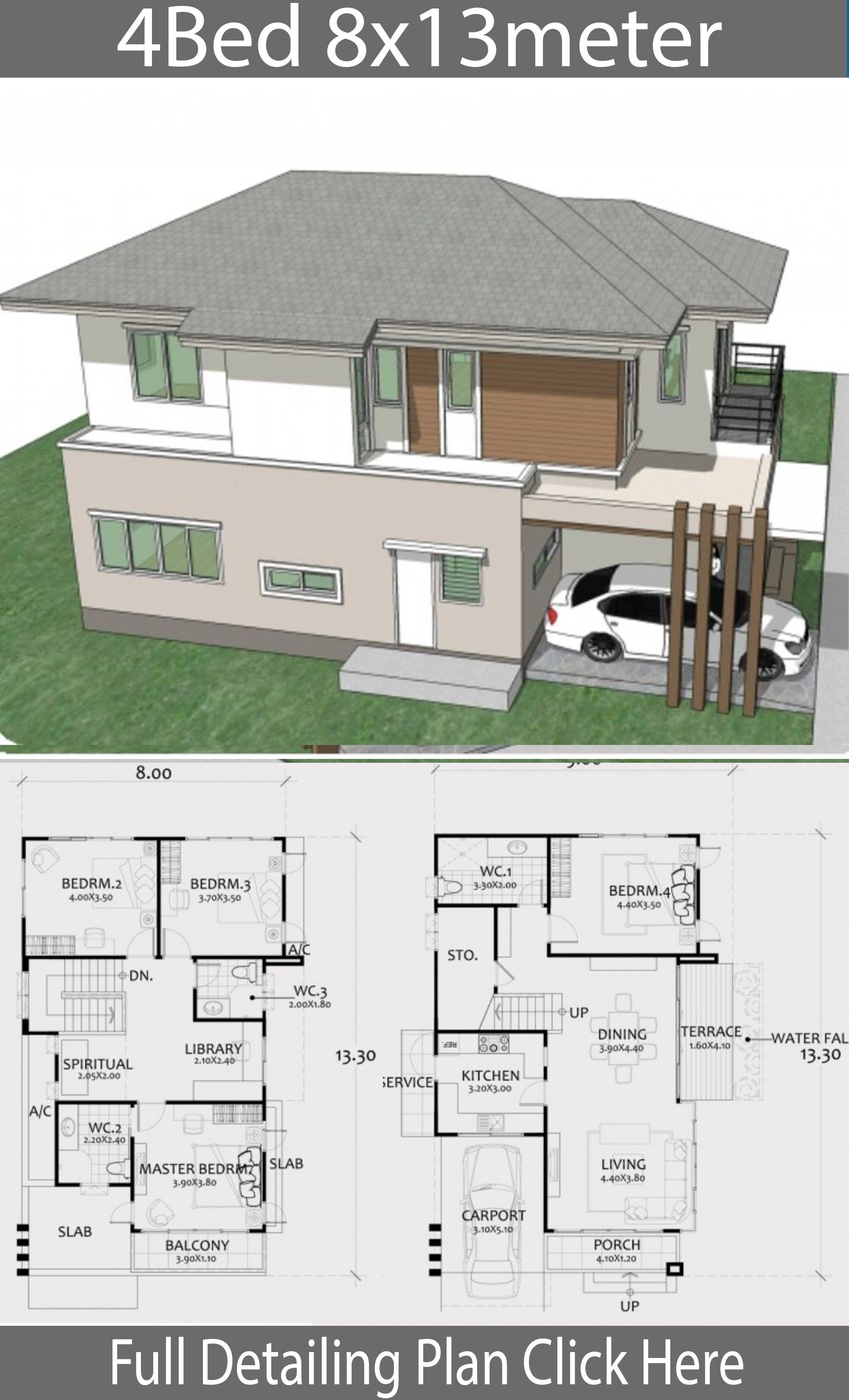 Home Design Plan 8x13m With 4 Bedrooms Home Design With Plan Home Design Plan Home Building Design House Layout Plans