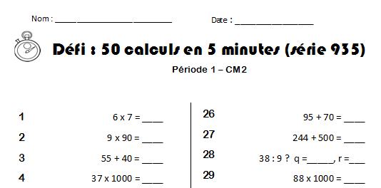Calcul mental ce2 cm1 cm2 test defis l mentaire - Calcul mental table de multiplication ...
