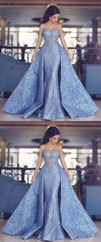 Ballkleid Ballkleid, Elegant Liebsten Meerjungfrau Abendkleid Mit Abnehmbarem Zug, Mode Blau Abendkleider SuZhou Prom