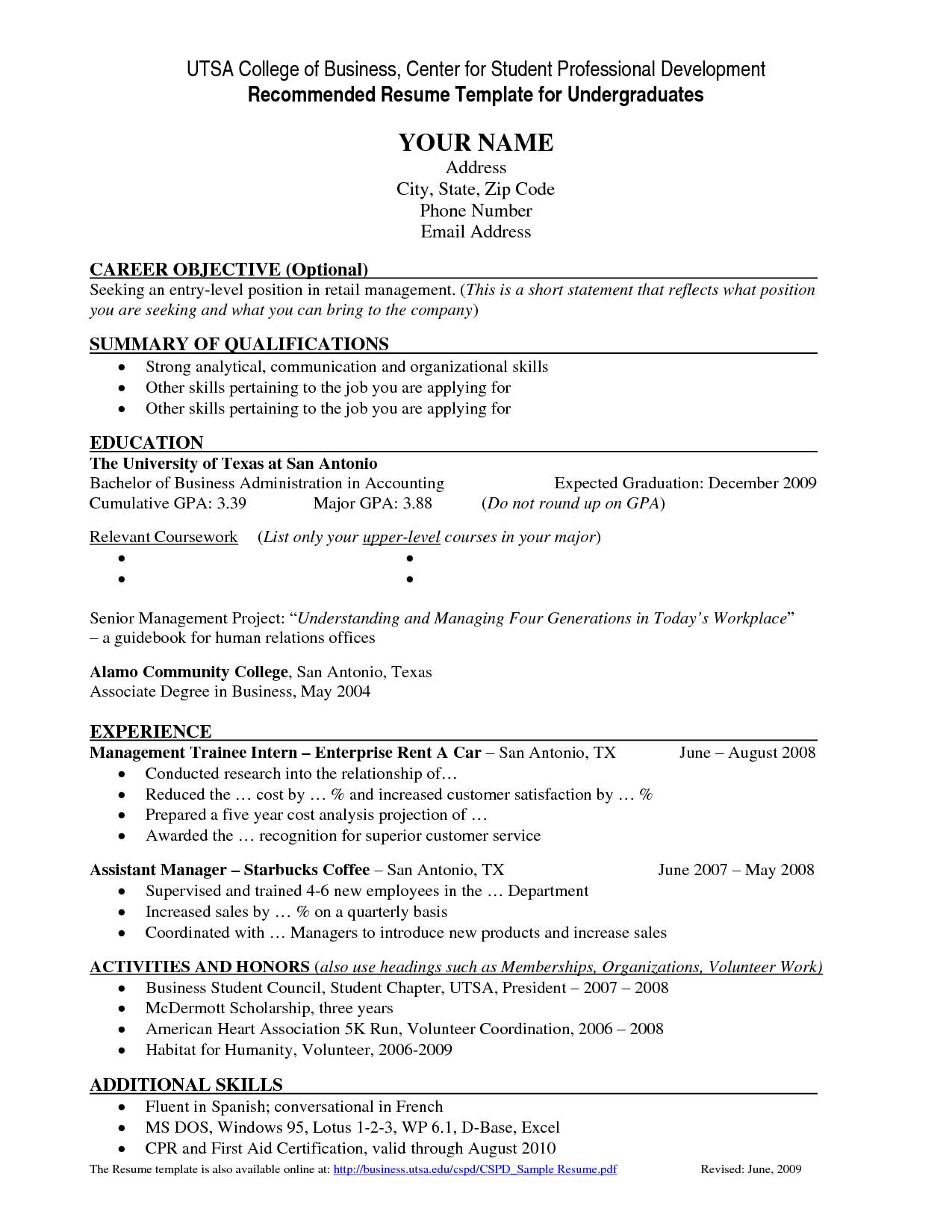 Resume Template For College Students - http://www.resumecareer.info ...