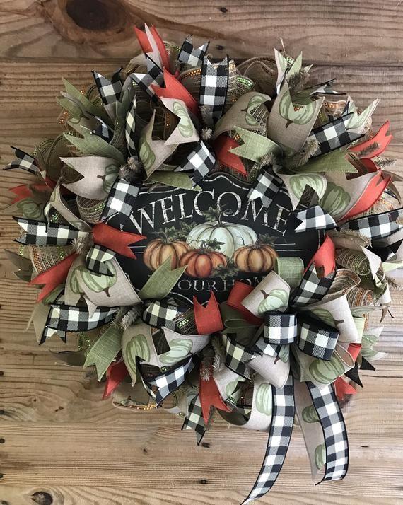 Fall wreath fall decor autumn wreath decor decor door wreath scarecrow wreath happy fall y'all wreat #scarecrowwreath