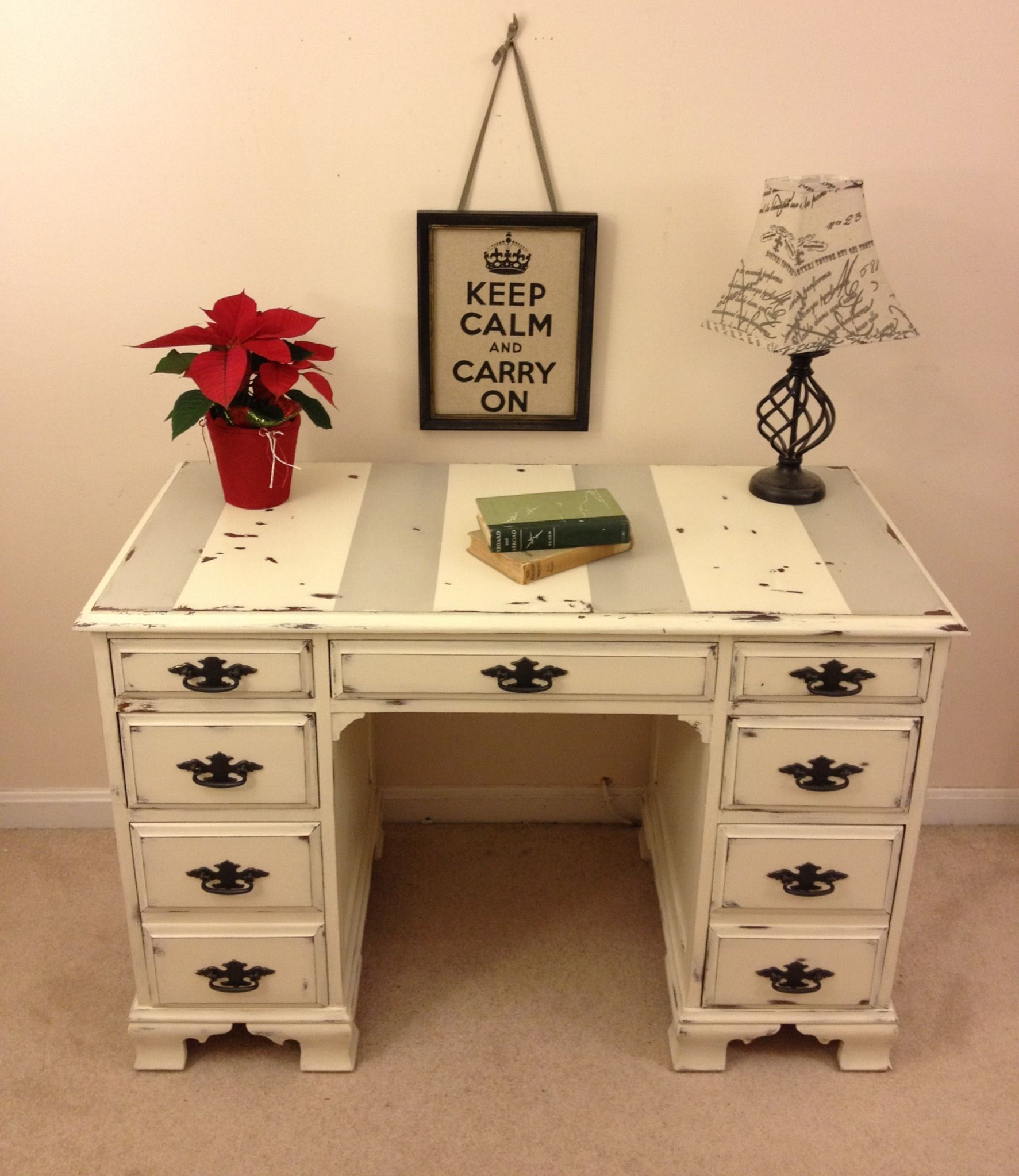 Shabby Chic Annie Sloan Chalk Paint Desk With Chippy Paint By Furniture Alchemy Distressed Desk Painte Shabby Chic Desk Shabby Chic Dresser Rustic White Desk