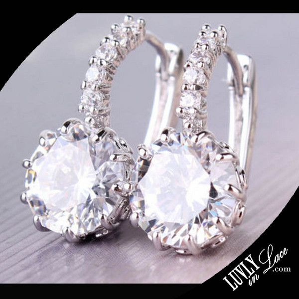 Women's 18k White Gold Clasp Clear Swarovski Crystal Zircon Cz Earrings- I think these would go will with just about anything. Plus they are on sale!