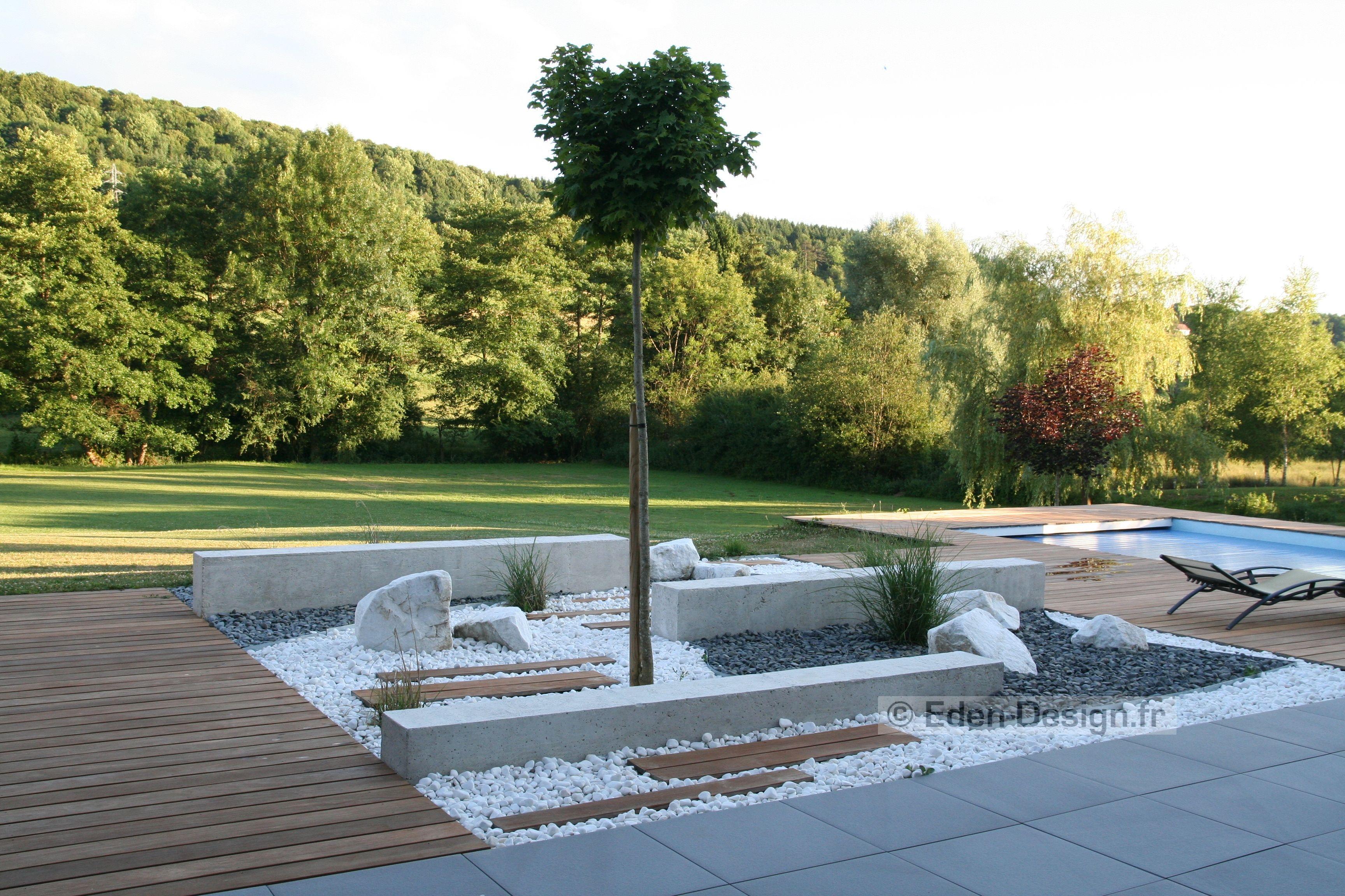 Aménagement extérieur entre deux terrasses bois et une ...