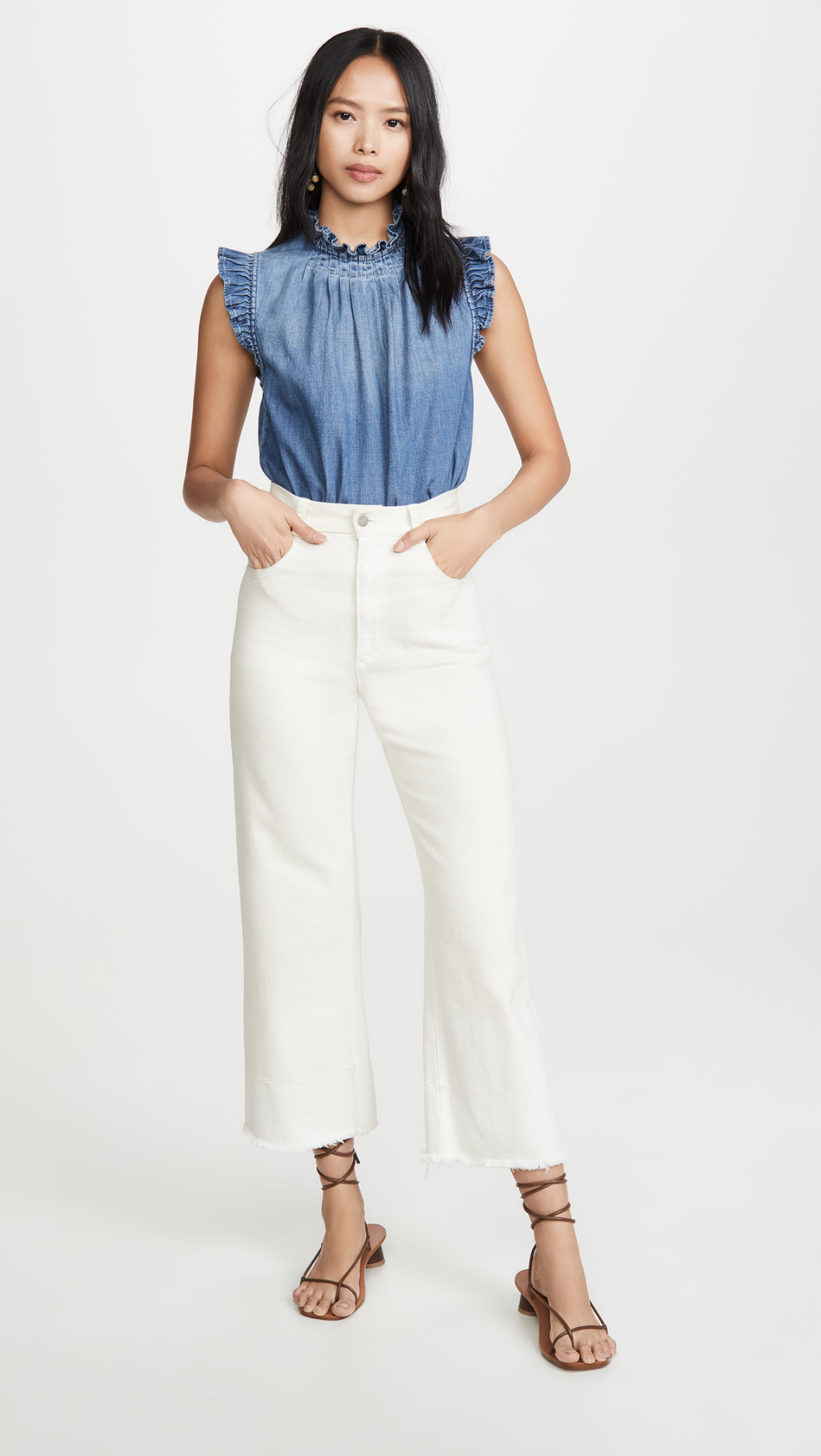 FRAME Ruffle Denim Sleeveless Top in 2020 Sleeveless top