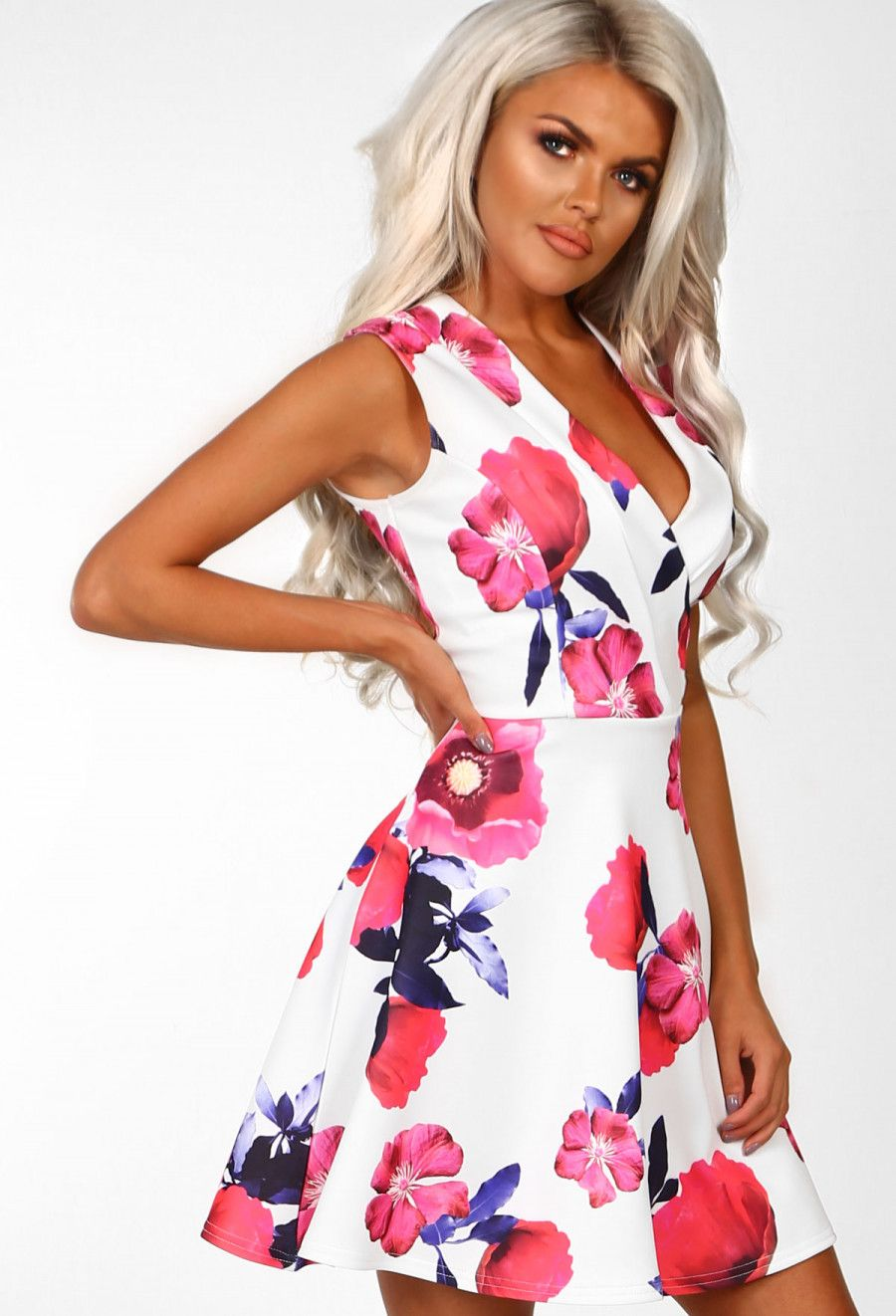 8c479423 True Vixen White Floral Skater Mini Dress | Pink Boutique | NEW IN ...