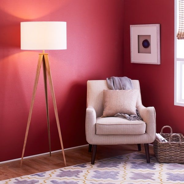Versanora Romanza Light Brown 60-inch Tripod Floor Lamp with White ...