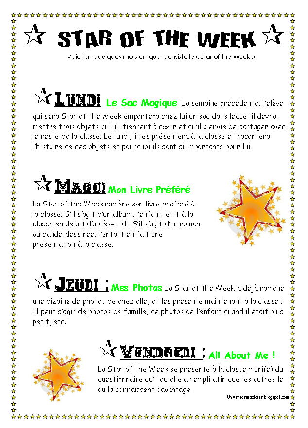 L Univers De Ma Classe Star Of The Week Francais
