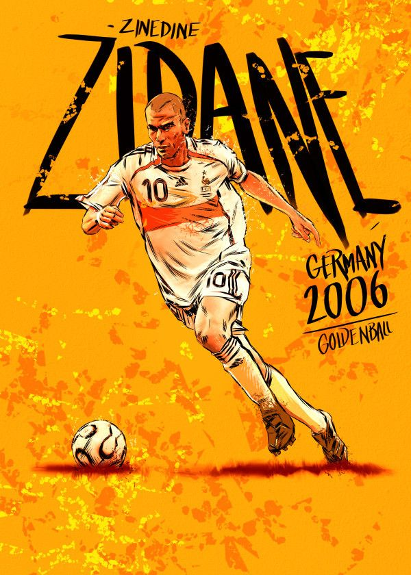Fifa World Cup Golden Ball Winners 2006 Zinedine Zidane Displate Artwork By Artist Mr Jackpots Part Of A Set Featuring Lendas Do Futebol Futebol Esportes