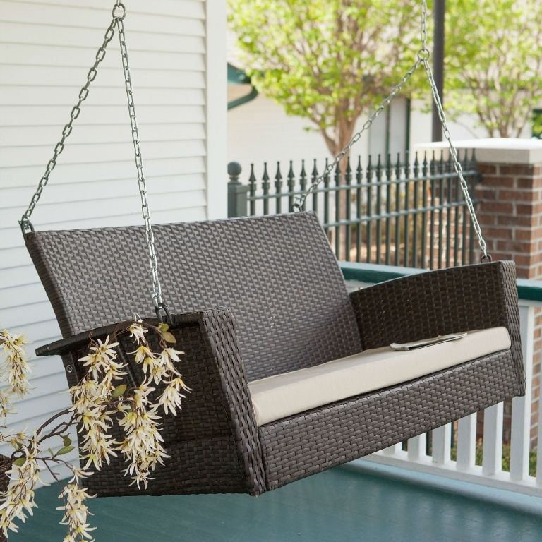 Exterior: Pretty Outdoor Wicker Patio Swing Chair With Stand And Pillow  From The Great Things