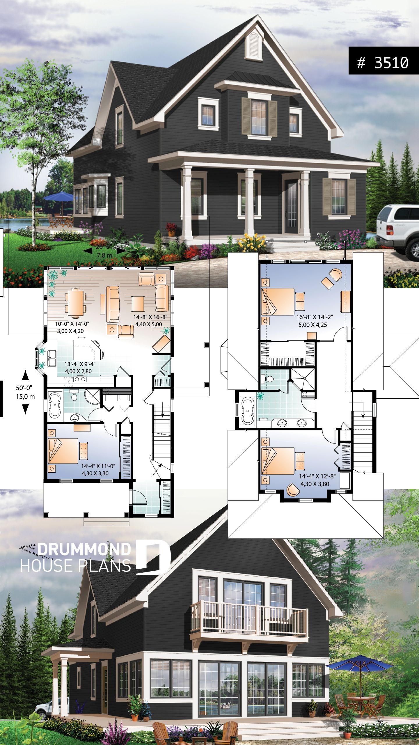 Discover The Plan 3510 Evergreene Which Will Please You For Its 2 3 Bedrooms And For Its Cottage Chalet Cabin Styles Sims House Plans Country Cottage House Plans Beach House Plans