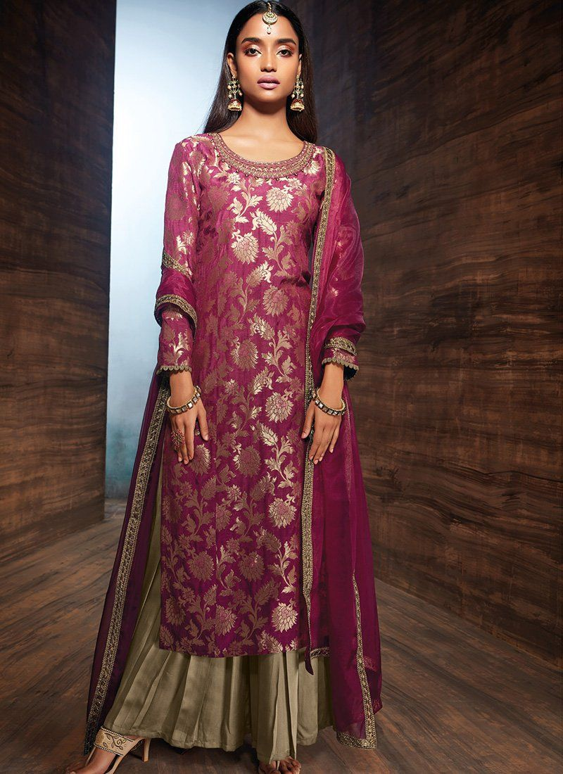 43c4273841 Deep Plum and Wine Velvet Palazzo Suit in 2019 | Bridal wear | Saree ...