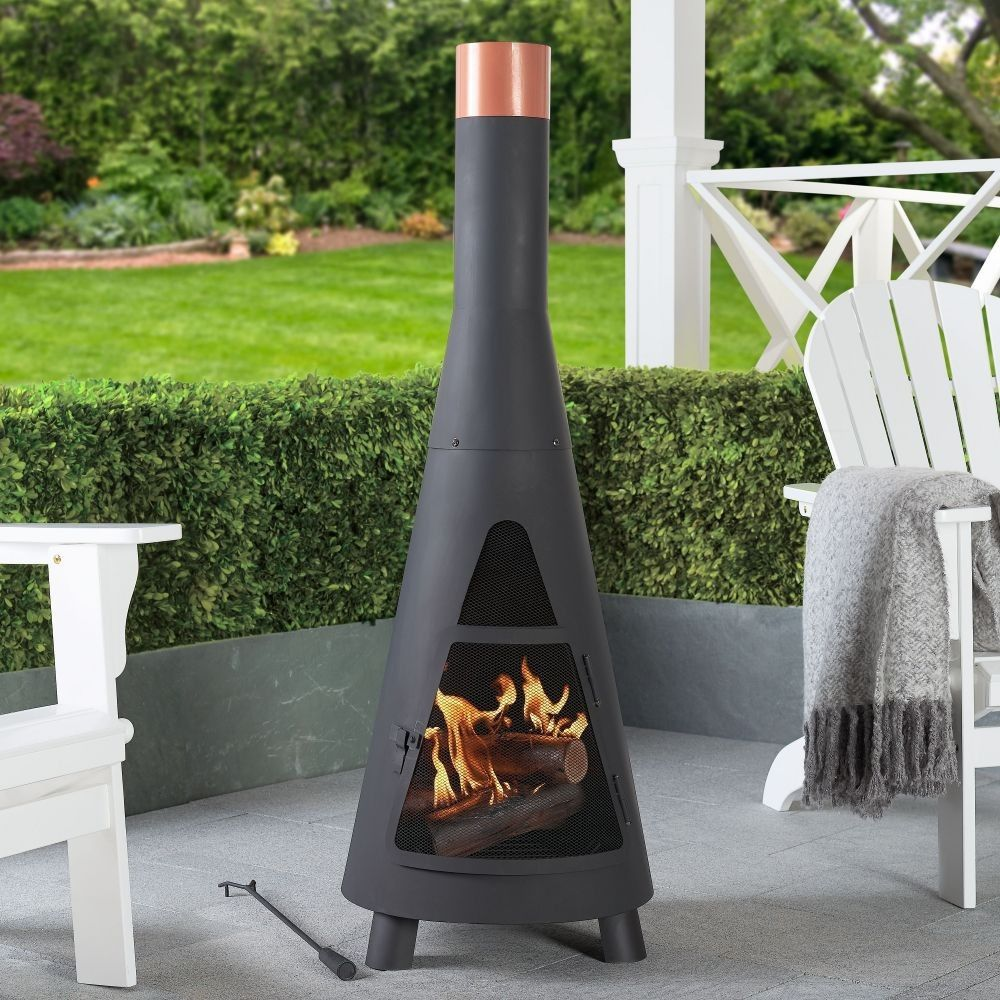 Modern Wood Burning Steel Chiminea Black And Copper In 2020 Outdoor Wood Burning Fireplace Backyard Fireplace Fire Pit Heater