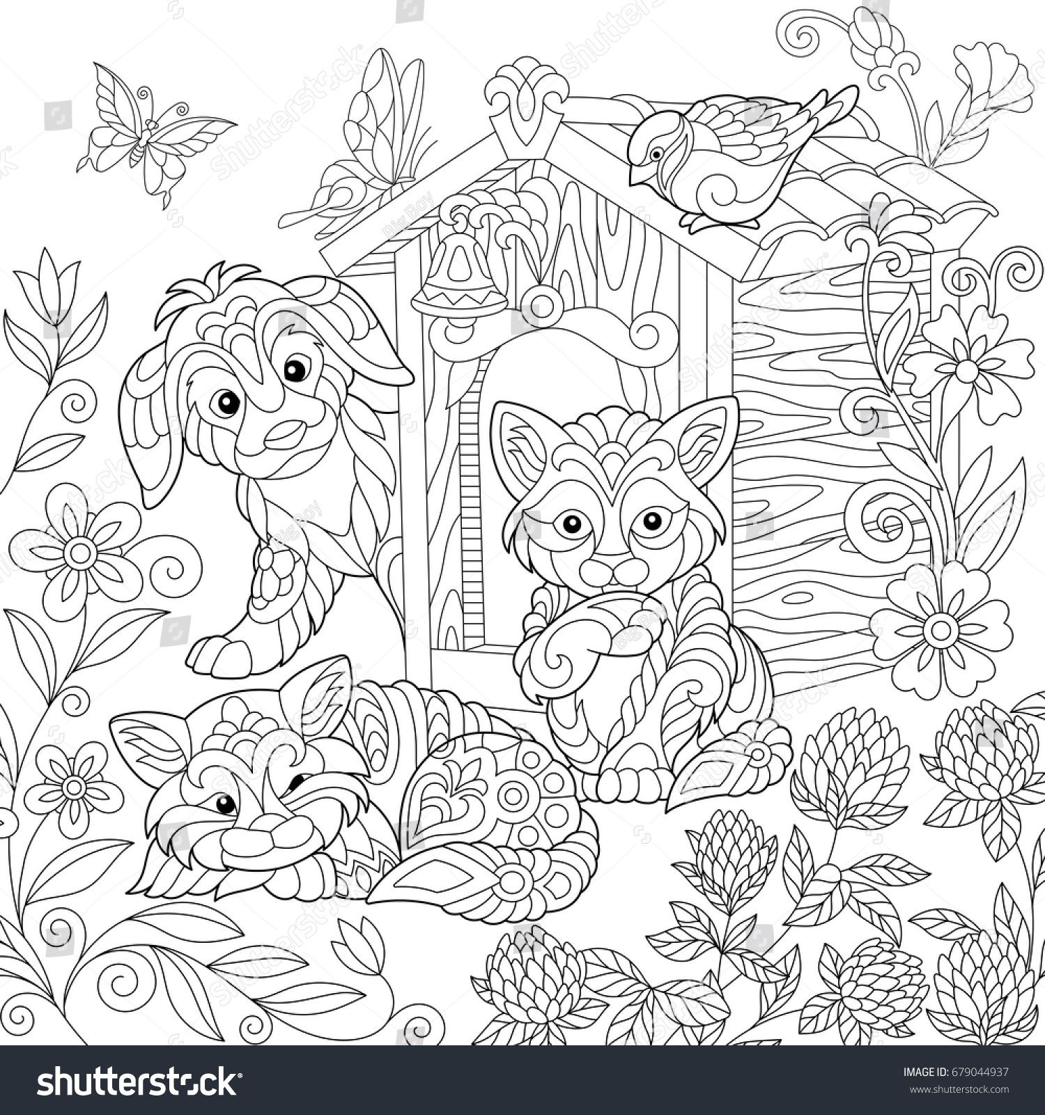 Coloring page of puppy, cat, sparrow bird, dog booth