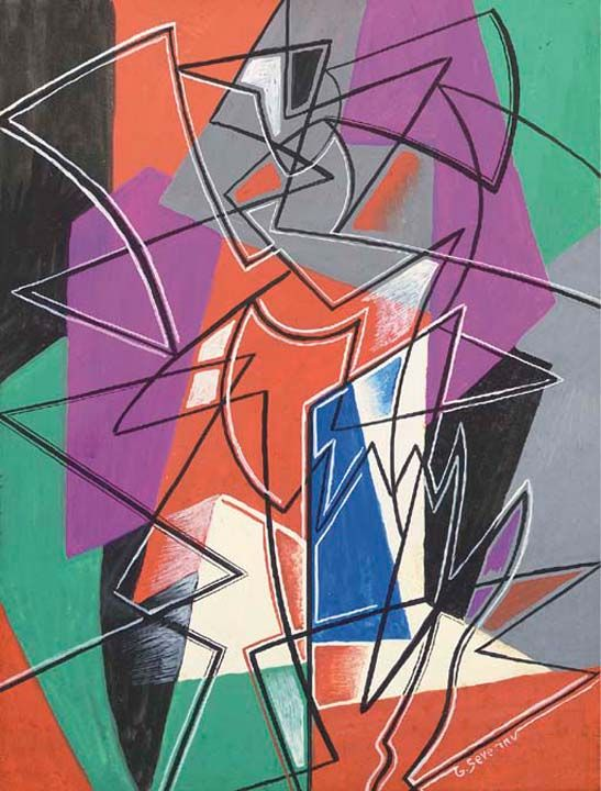 A dancer Artist: Gino Severini Completion Date: c.1950 Style: Cubo-Expressionism Genre: genre painting