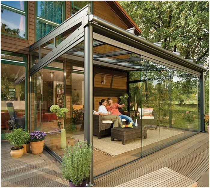 Glass Enclosed Patio This Would Be One Way To Create An Outdoor Living Space For Colorado Weather Outdoor Patio Designs Backyard Patio Backyard Patio Designs