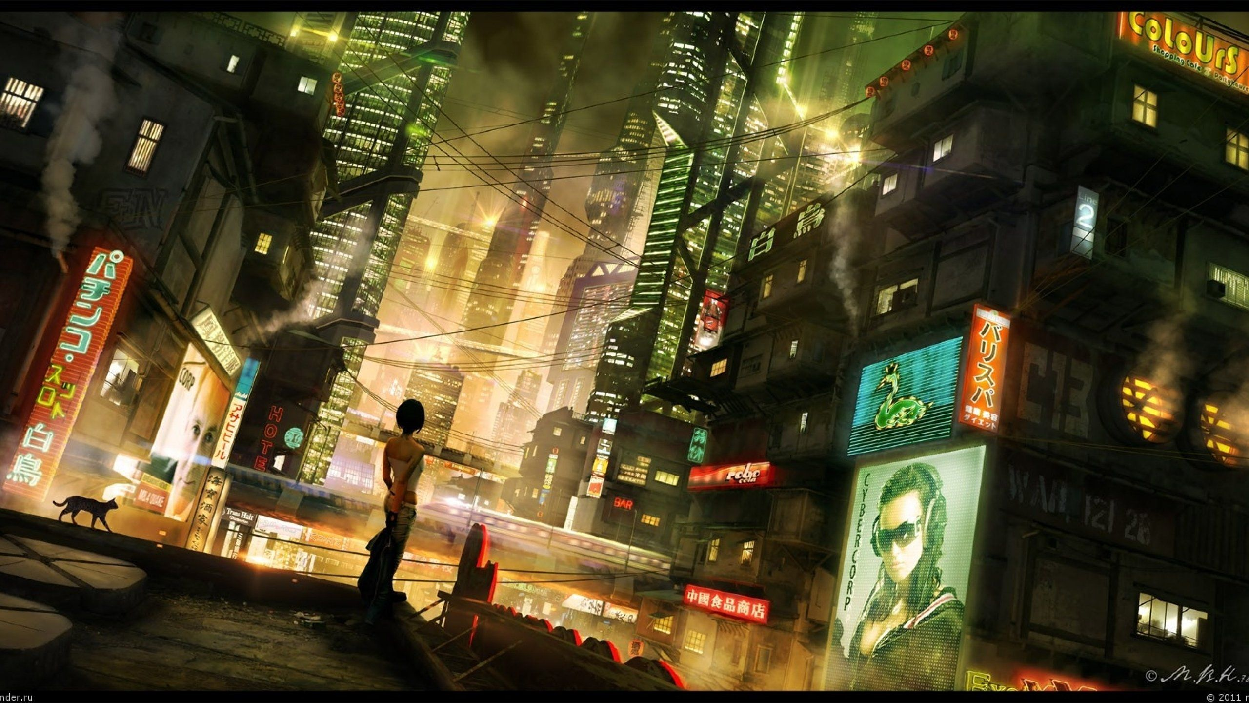 Sci-fi futuristic city cities art artwork wallpaper | 2560x1440 | 658171 | WallpaperUP