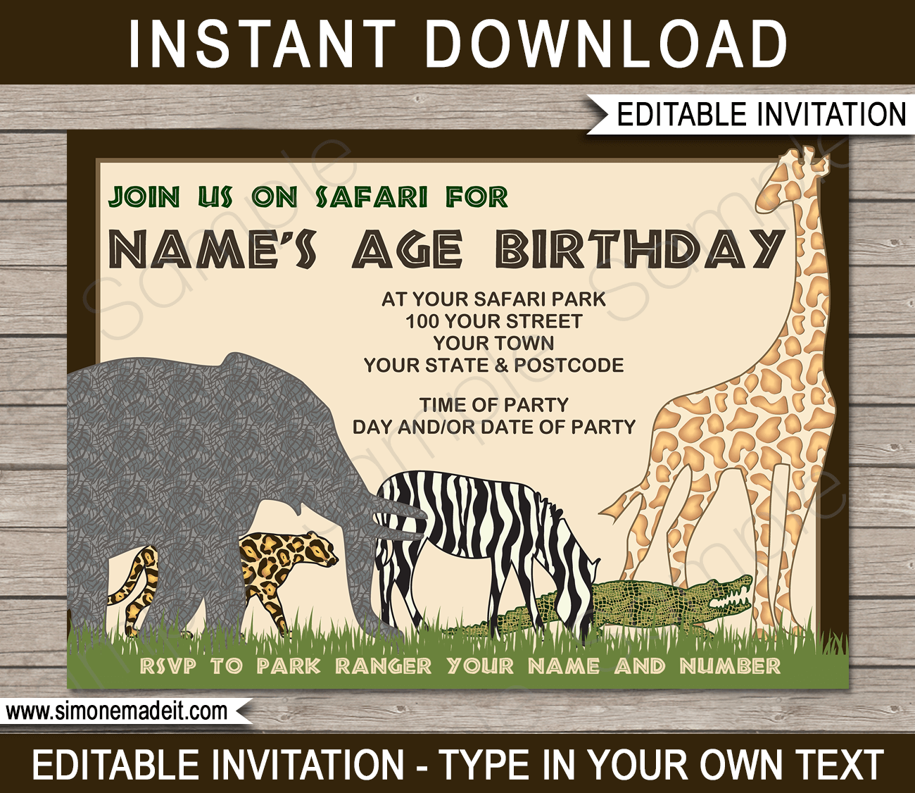 Safari or Zoo Party Invitations Template  Safari theme party