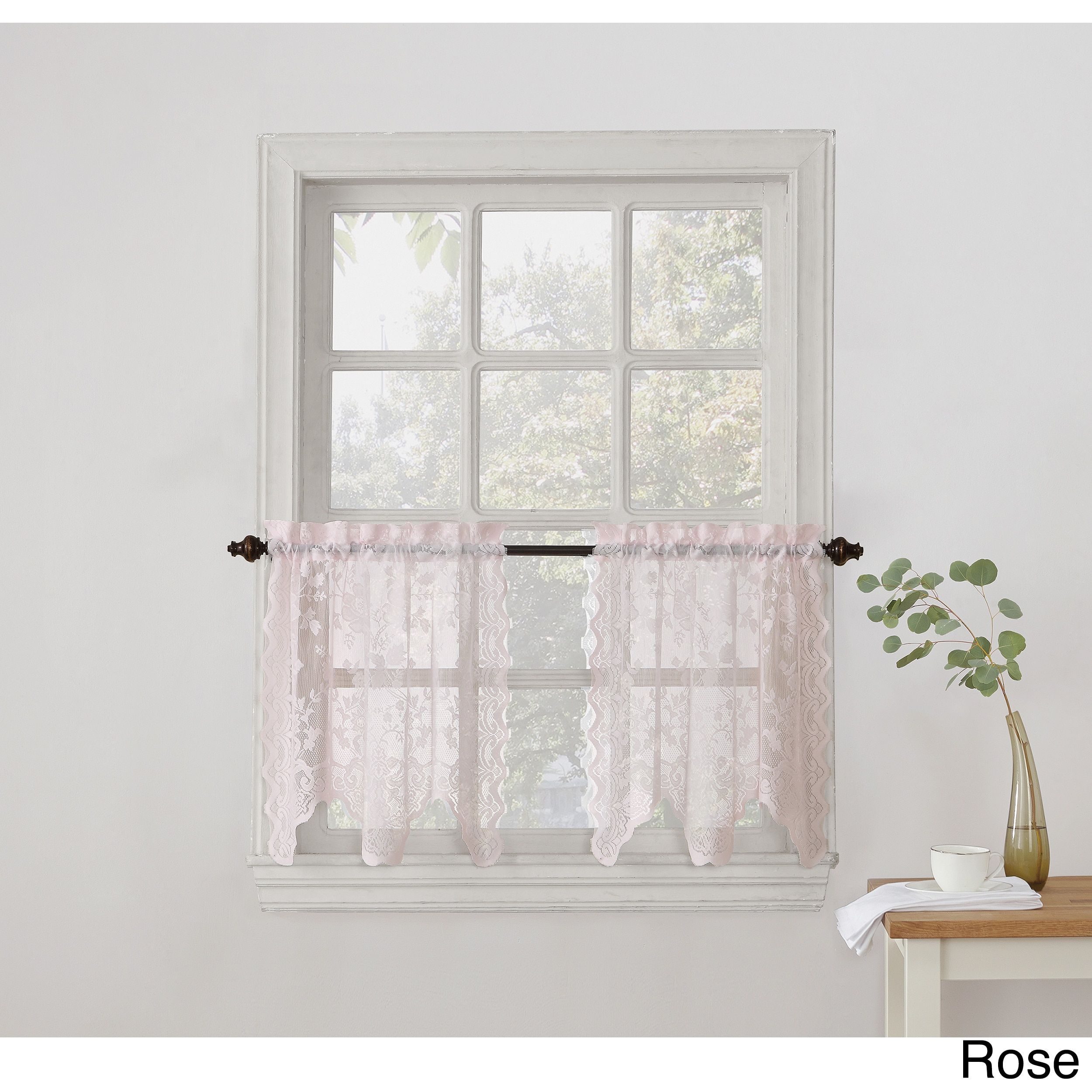 No alison sheer lace kitchen curtain tier pair blue kitchen