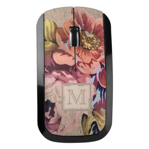 Vintage Rustic Floral Wireless Mouse