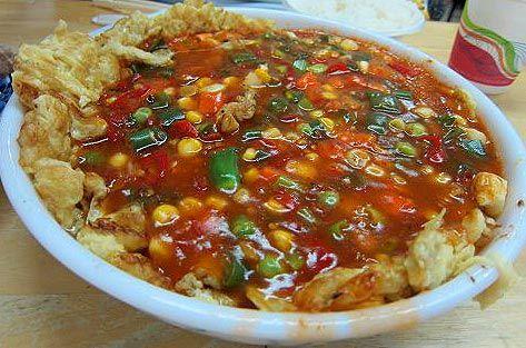【台北‧四川飯館】魚香烘蛋,顏色很鮮豔漂亮,味道當然也是很好吃且下飯的。