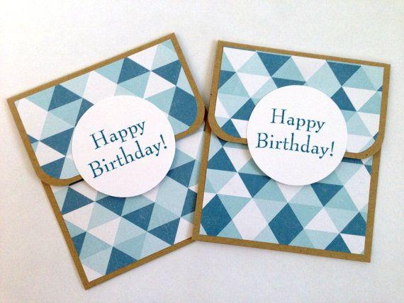 Mens Gift Card Holder Blue Money Envelope Birthday Gift Card