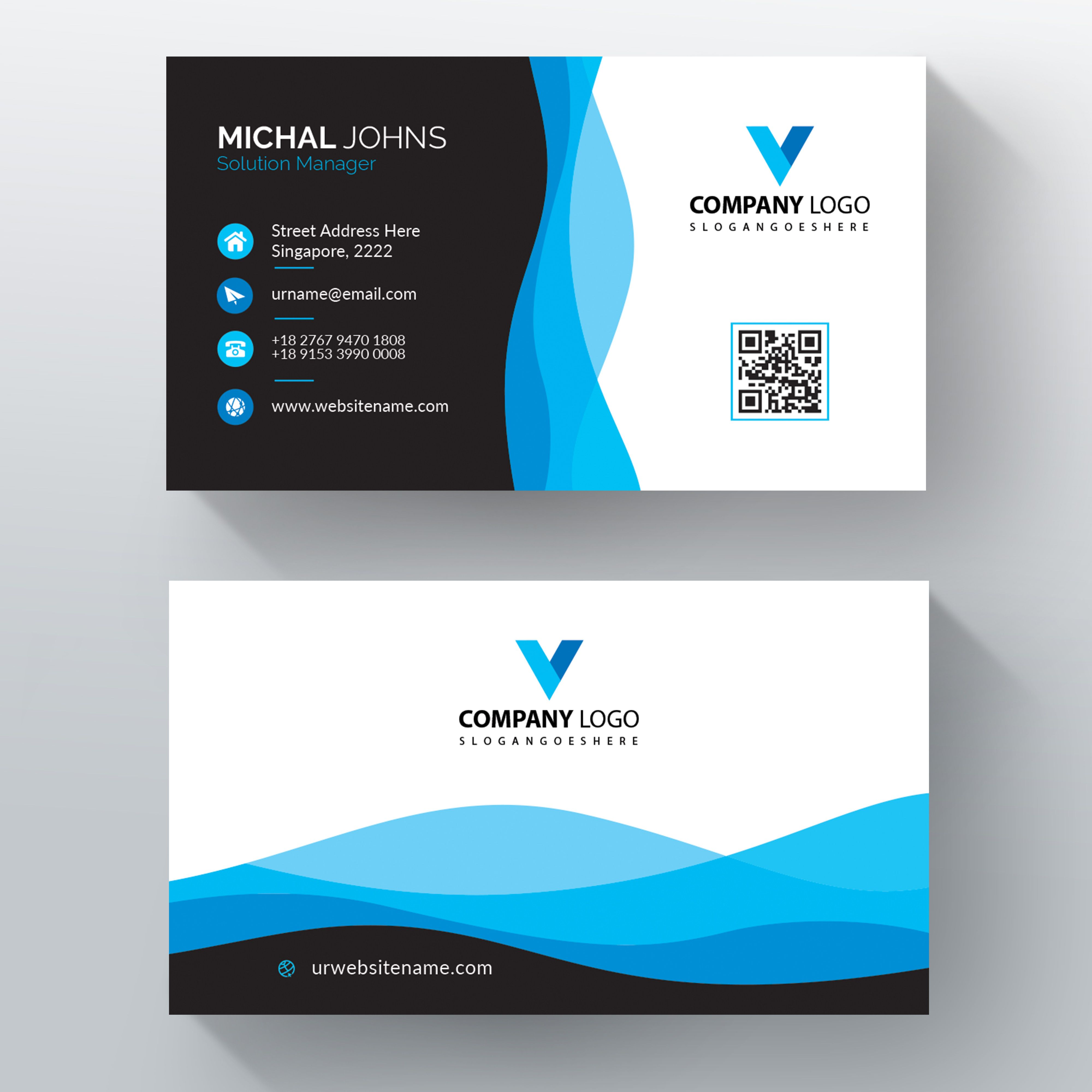 Blue Wavy Vector Business Card Template