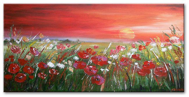 schilderijen van bloemen en planten schilderij red sunset