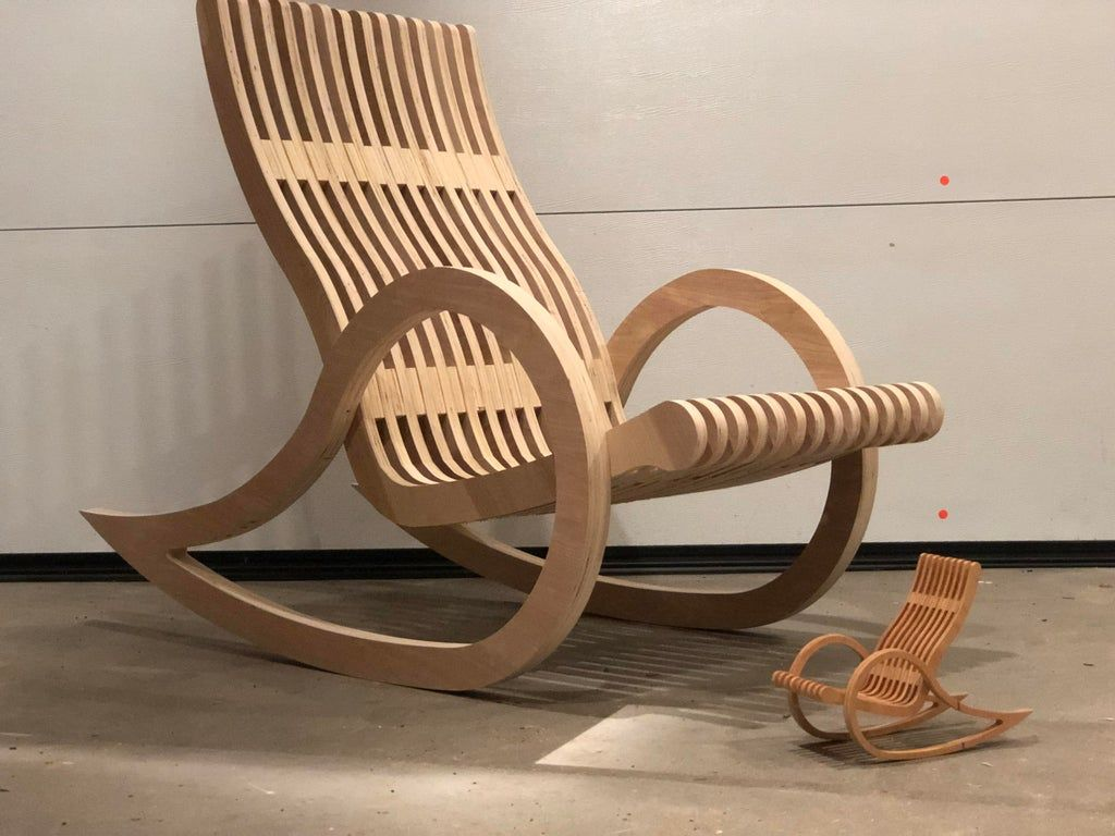 Plywood Challenge Rocking Chair Used A Sheet And A Half Of 3 4 Maple Also Made A Mini Prototype Wood Rocking Chair Wooden Rocking Chairs Rocking Chair Plans