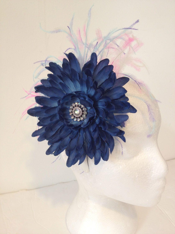 Back to school navy blue flower feather headband fascinatorflower back to school navy blue flower feather headband fascinatorflower headbanddance costume izmirmasajfo