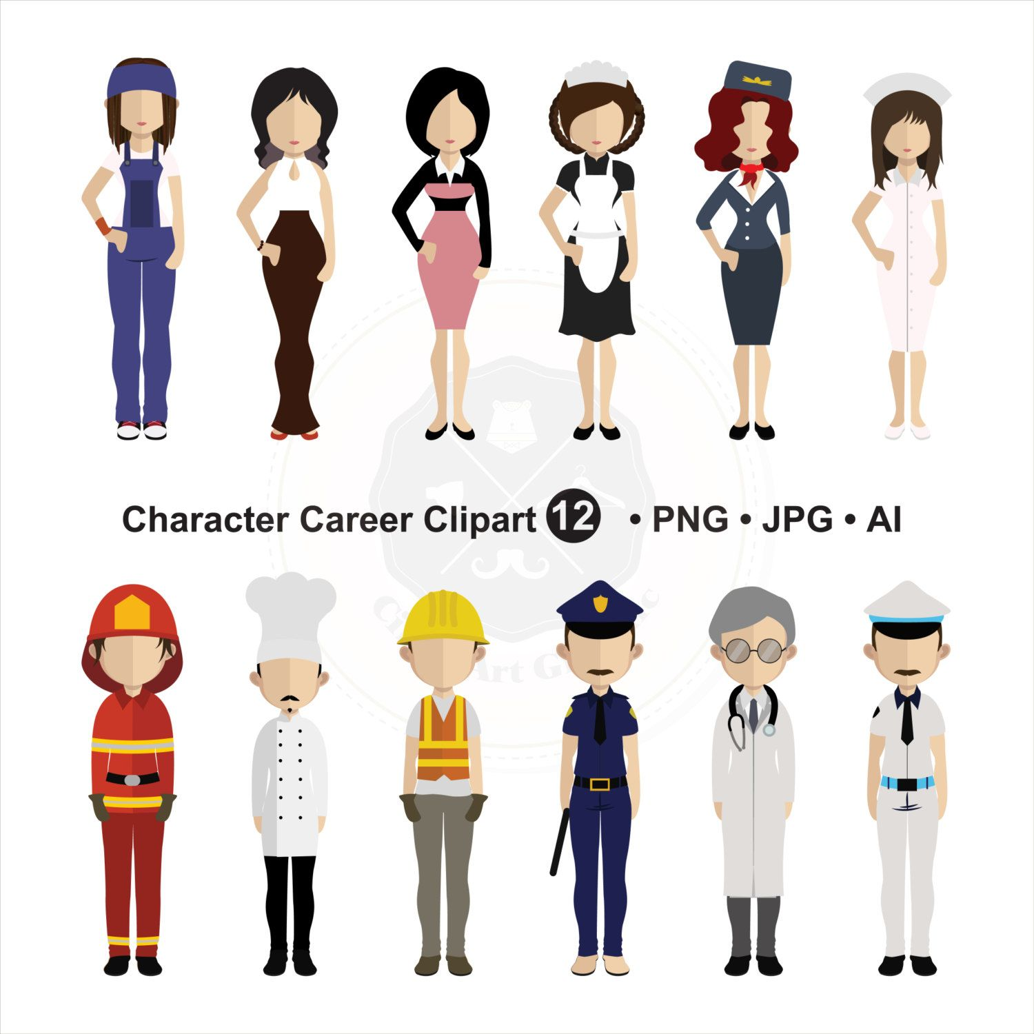 Character Career Clipart People Clipart Character Clipart Digital Download Buy 1 Get 1 Free Use Code 1get12016