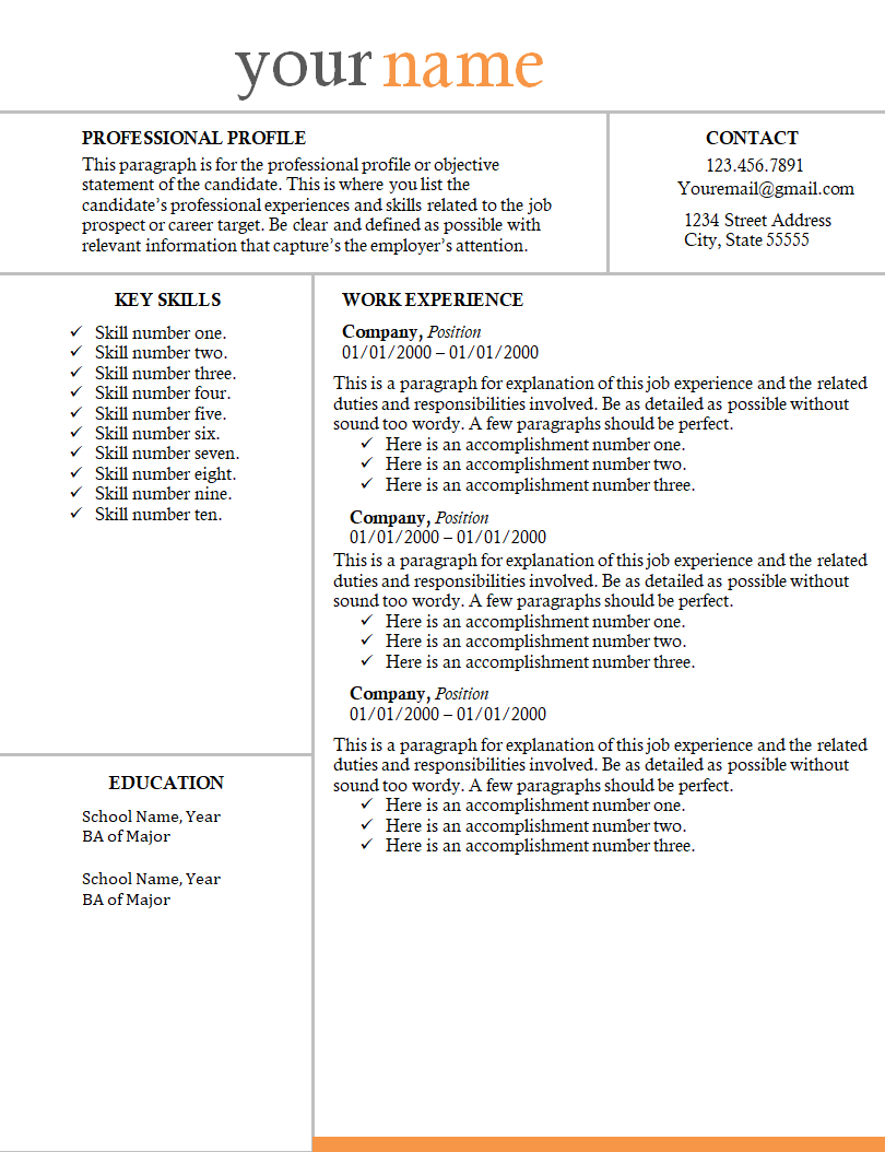 Resume Template 2 Resume examples, Good resume examples