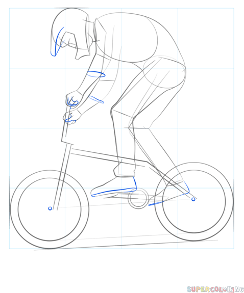 How To Draw A Bmx Biker Step By Step Drawing Tutorials Ideias