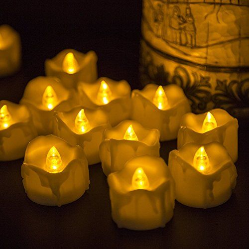 Electric Candles Flickering Led Tea Light Candles Dripping Style With Realistic Look Flameless Candles For Birthday Wedding Party Halloween And Christmas Tea Candles Led Tea Light Candles Candle Store