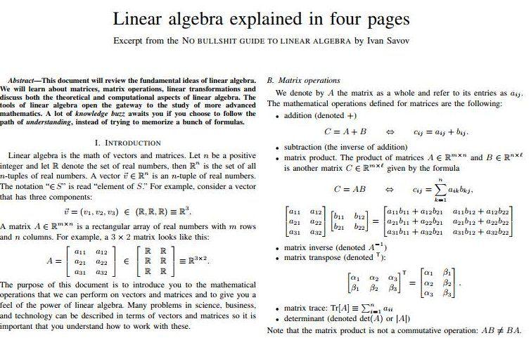 Linear Algebra | Math | Machine learning deep learning, Data
