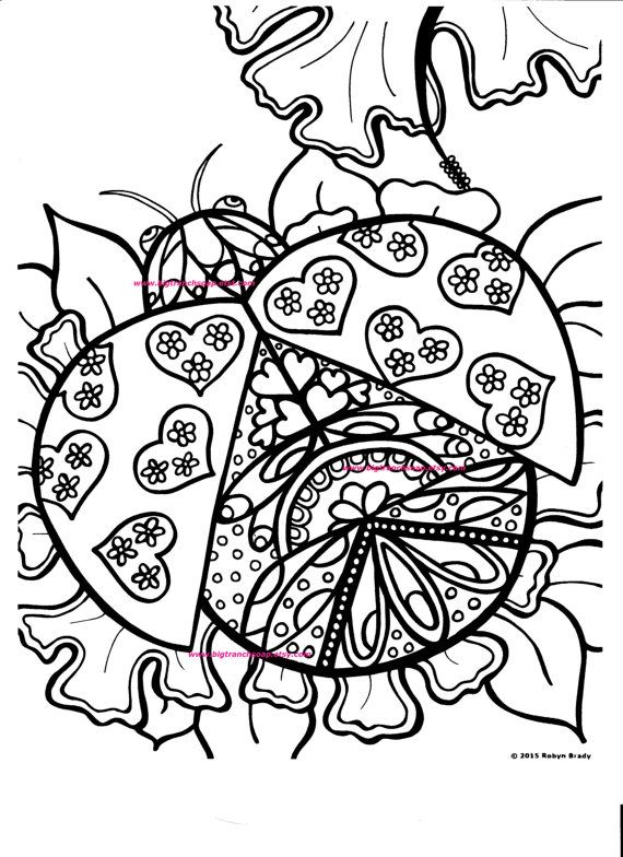 Coloring Page for Grown Ups Ladybug Coloring Hand Drawn Image