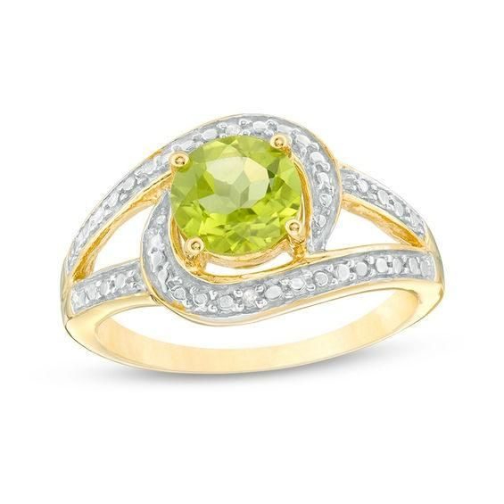 Zales Oval Peridot and Diamond Accent Teardrop Frame Ring in Sterling Silver with 14K Gold Plate OkFLm
