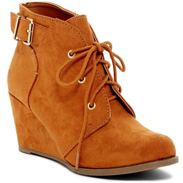 1f30fe86318 Rampage Ram Maiden Wedge Bootie ( 30) ❤ liked on Polyvore featuring shoes